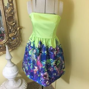Forever New lime green floral dress